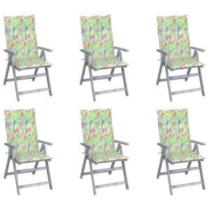 Verstellbare Gartenstühle 6 Stk. mit Auflagen Massivholz Akazie
