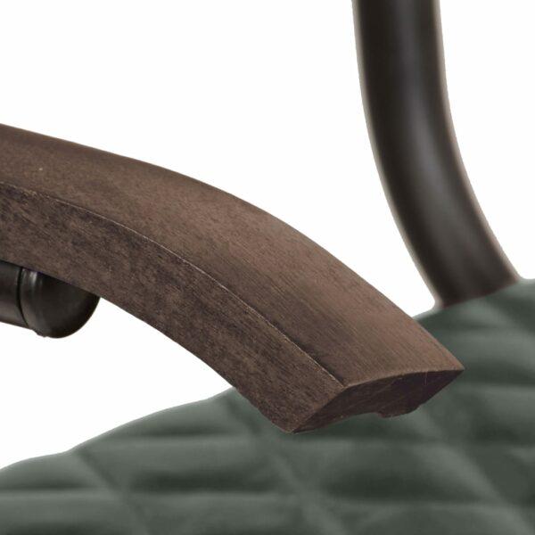 Esszimmerstühle 2 Stk. mit Armlehnen Grau Echtleder