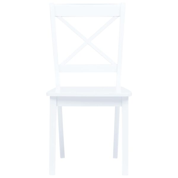 Esszimmerstühle 4 Stk. Weiß Gummiholz Massiv