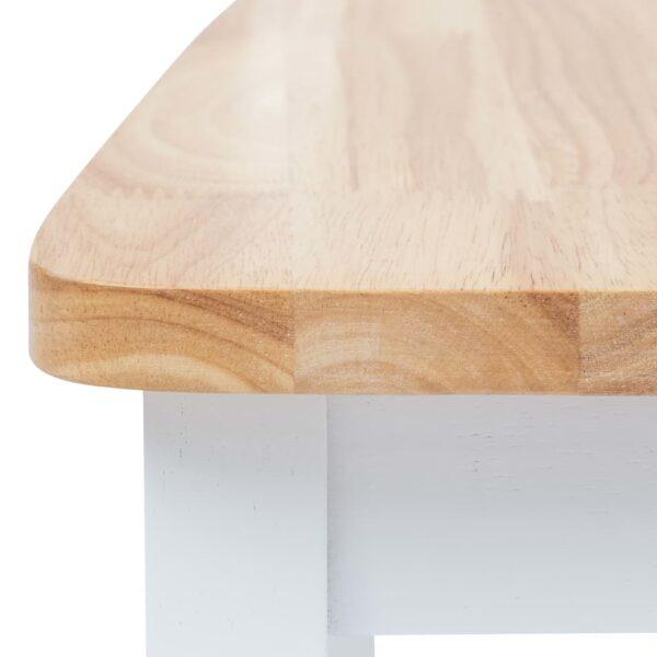 Esszimmerstühle 2 Stk. Weiß & Helles Holz Gummibaum Massivholz