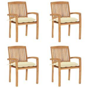 Stapelbare Gartenstühle mit Kissen 4 Stk. Massivholz Teak