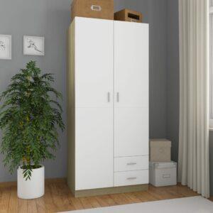 Kleiderschrank Weiß Sonoma-Eiche 80×52×180 cm Spanplatte