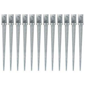 Erdspieße 12 Stk. Silbern 8×8×91 cm Verzinkter Stahl