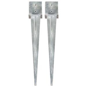 Erdspieße 2 Stk. Silbern 14×14×91 cm Verzinkter Stahl