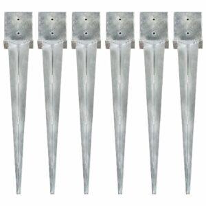 Erdspieße 6 Stk. Silbern 14×14×91 cm Verzinkter Stahl