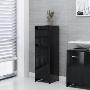 Badezimmerschrank Schwarz 30x30x95 cm Spanplatte