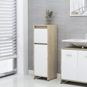 Badezimmerschrank Weiß und Sonoma-Eiche 30x30x95 cm Spanplatte