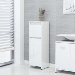 Badezimmerschrank Hochglanz-Weiß 30x30x95 cm Spanplatte