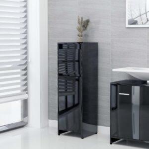 Badezimmerschrank Hochglanz-Schwarz 30x30x95 cm Spanplatte