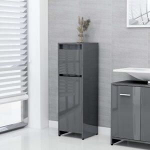 Badezimmerschrank Hochglanz-Grau 30x30x95 cm Spanplatte