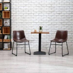 Esszimmerstühle 2 Stk. Glänzend Braun Kunstleder