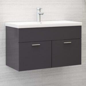 Waschbeckenunterschrank Hochglanz-Grau 80×38,5×46 cm Spanplatte