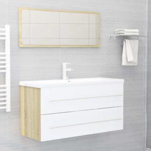 2-tlg. Badmöbel-Set Weiß und Sonoma-Eiche Spanplatte