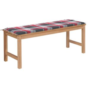 Gartenbank Rote Karomuster-Auflage 120 cm Massivholz Teak
