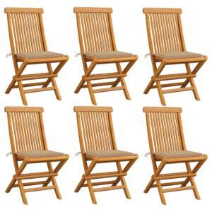 Gartenstühle mit Beige Kissen 6 Stk. Massivholz Teak