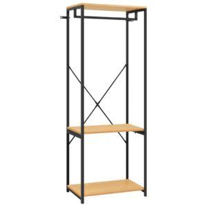 Kleiderschrank Schwarz und Eichen-Optik 60x40x167 cm Metall