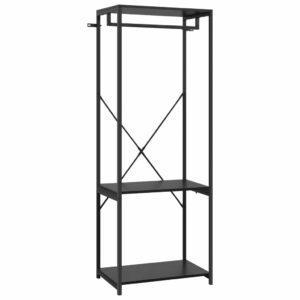 Kleiderschrank Schwarz 60x40x167 cm Metall und Spanplatte