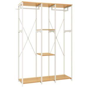 Kleiderschrank Weiß und Eichen-Optik 110x40x167 cm Metall