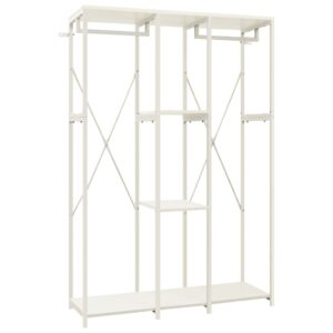 Kleiderschrank Weiß 110x40x167 cm Metall und Spanplatte