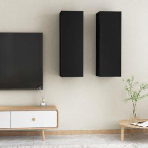 TV-Schränke 2 Stk. Schwarz 30,5x30x90 cm Spanplatte