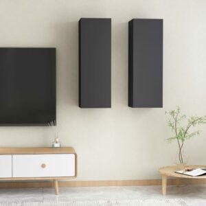 TV-Schränke 2 Stk. Grau 30,5x30x90 cm Spanplatte