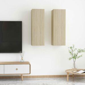 TV-Schränke 2 Stk. Sonoma-Eiche 30,5x30x90 cm Spanplatte