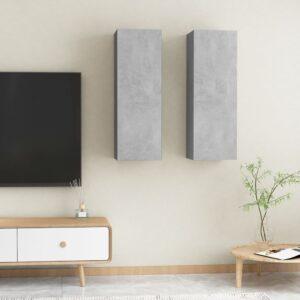 TV-Schränke 2 Stk. Betongrau 30,5x30x90 cm Spanplatte