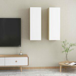 TV-Schränke 2 Stk. Weiß Sonoma-Eiche 30,5x30x90 cm Spanplatte