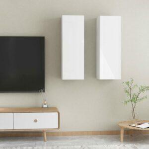 TV-Schränke 2 Stk. Hochglanz-Weiß 30,5x30x90 cm Spanplatte