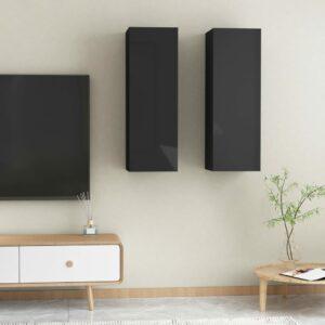 TV-Schränke 2 Stk. Hochglanz-Schwarz 30,5x30x90 cm Spanplatte