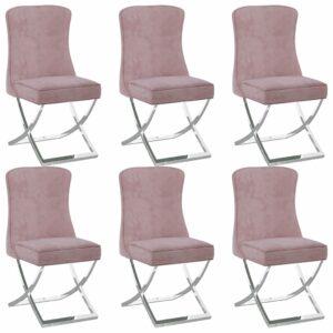 Esszimmerstühle 6 Stk. Rosa 53x52x98 cm Samt