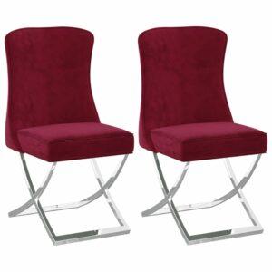 Esszimmerstühle 2 Stk. Weinrot 53x52x98 cm Samt
