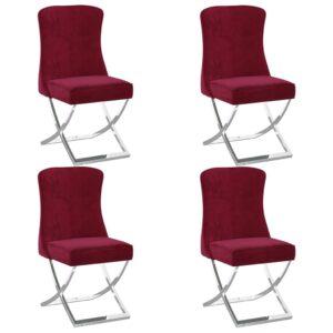 Esszimmerstühle 4 Stk. Weinrot 53x52x98 cm Samt