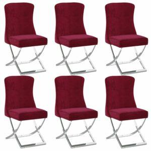Esszimmerstühle 6 Stk. Weinrot 53x52x98 cm Samt