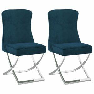Esszimmerstühle 2 Stk. Blau 53x52x98 cm Samt