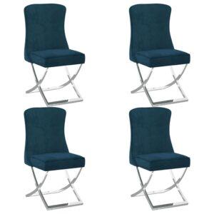 Esszimmerstühle 4 Stk. Blau 53x52x98 cm Samt