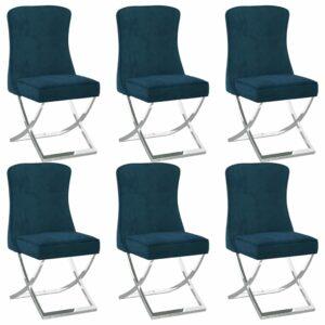 Esszimmerstühle 6 Stk. Blau 53x52x98 cm Samt