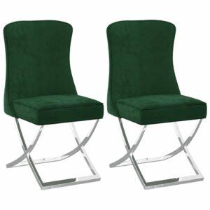 Esszimmerstühle 2 Stk. Dunkelgrün 53x52x98 cm Samt