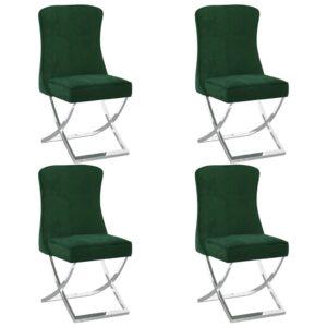 Esszimmerstühle 4 Stk. Dunkelgrün 53x52x98 cm Samt