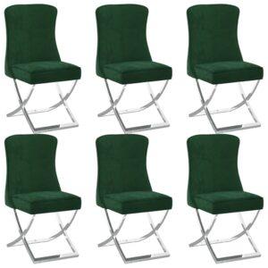 Esszimmerstühle 6 Stk. Dunkelgrün 53x52x98 cm Samt