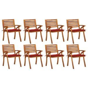 Gartenstühle mit Kissen 8 Stk. Massivholz Akazie