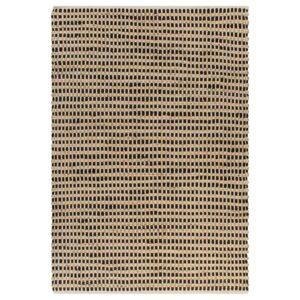 Handgewebter Teppich Jute Stoff 120 x 180 cm Natur und Schwarz