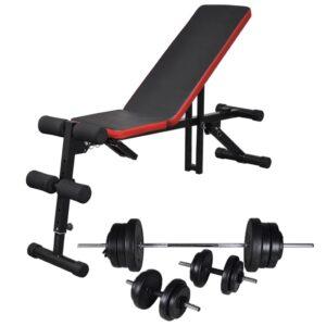 Einstellbare Trainingsbank mit Lang- und Kurzhantel-Set 60,5 kg