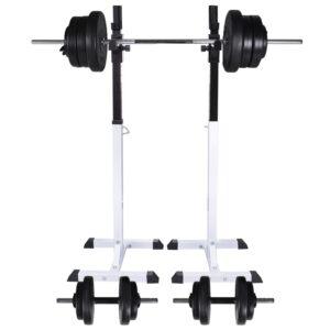 Kniebeugen-/Langhantelständer mit Hantel-Set 60,5 kg