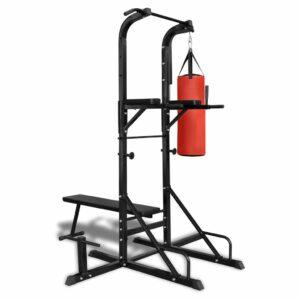 Fitness Kraftturm mit Trainingsbank und Boxsack