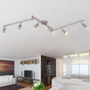 Deckenleuchte mit 6 LED Spotlights Satin Nickel