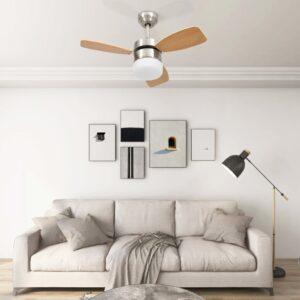 Deckenventilator mit Lampe und Fernbedienung 76 cm Hellbraun