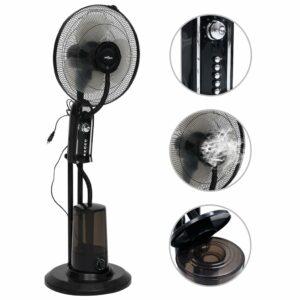 Sprühnebel-Standventilator mit 3 Geschwindigkeiten Schwarz