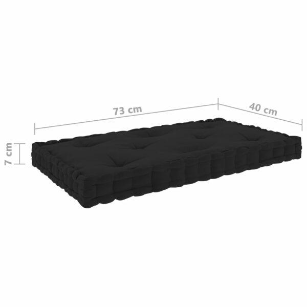 Paletten-Bodenkissen Schwarz 73x40x7 cm Baumwolle