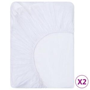 Spannbettlaken 2 Stk. Wasserdicht Baumwolle 120×200 cm Weiß
